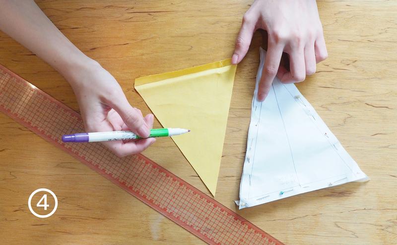 步驟4-板模尚有預留1公分的範圍,怕會剪歪的朋友可以在布上面做預留