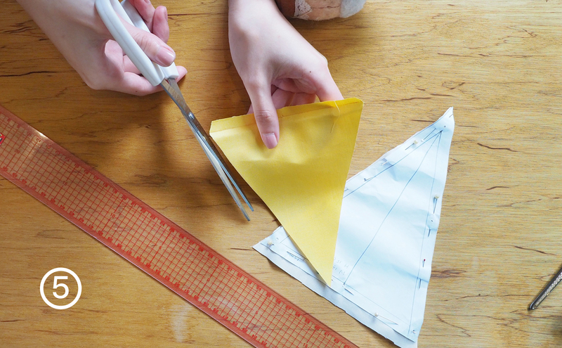 步驟5-沿著內縮預留的1公分再剪一次,讓三角旗的外圍更加整齊
