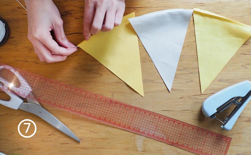步驟7-把尼龍繩穿進剛剛縫的開孔裡,每一個都串聯起來